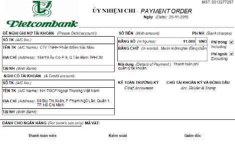 Một mẫu chứng từ kế toán của ngân hàng Vietcombank